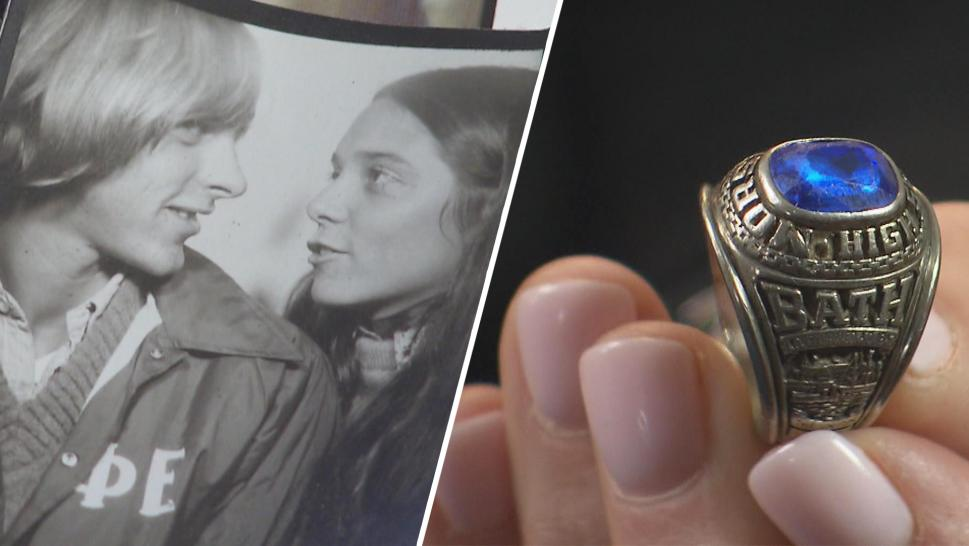 Debra and Sean McKenna in high school, and Sean's class ring