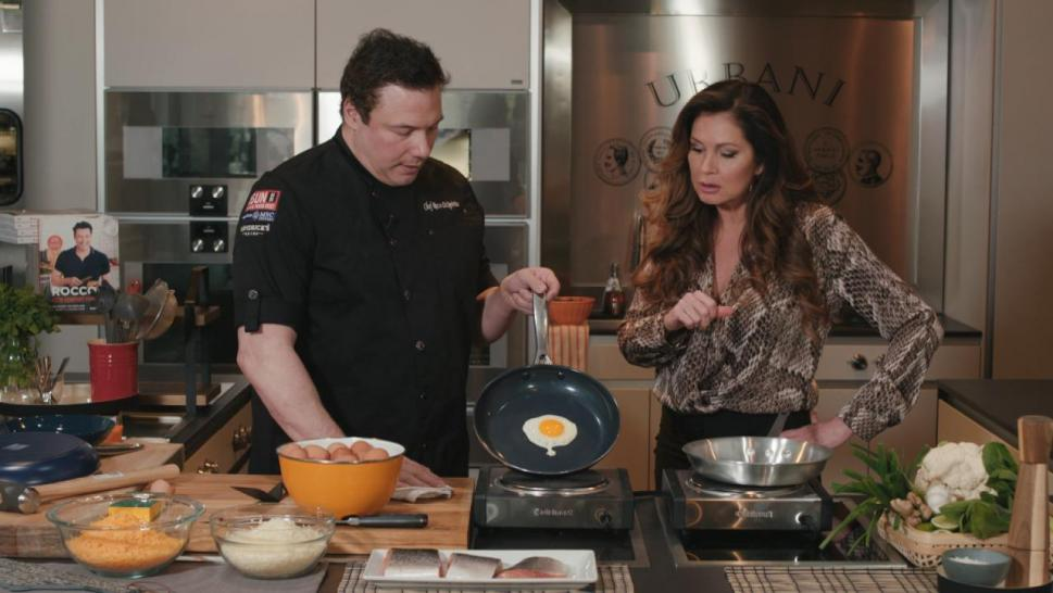 Rocco DiSpirito and Lisa Guerrero put the Blue Diamond pan to the test.