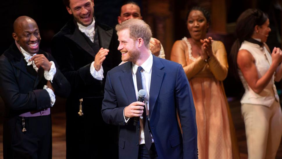 "Prince Harry, Duke of Sussex speaks onstage at ""Hamilton"""
