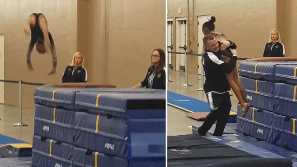 Gymnast about to fall