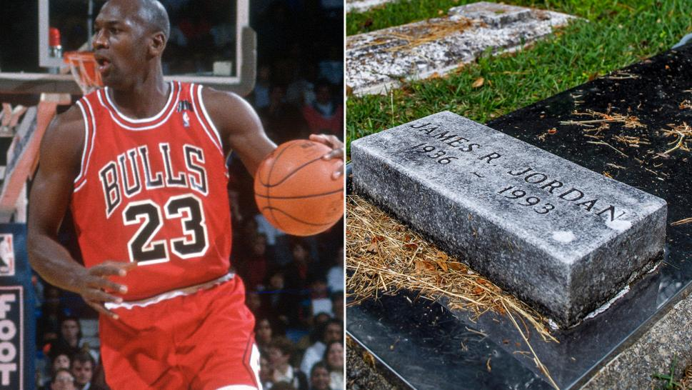 Michael Jordan plays basketball for the Chicago Bulls in 1991 (Left) / James Jordan's headstone (Right)
