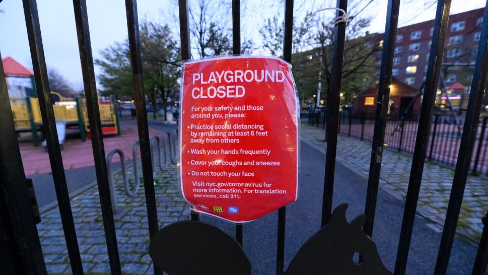 Closed playground sign