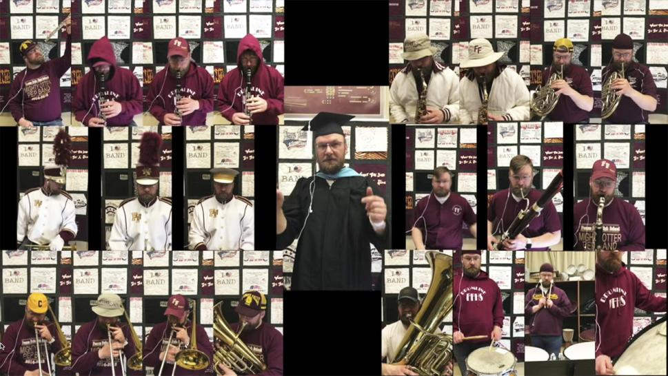 Music teacher graduation performance