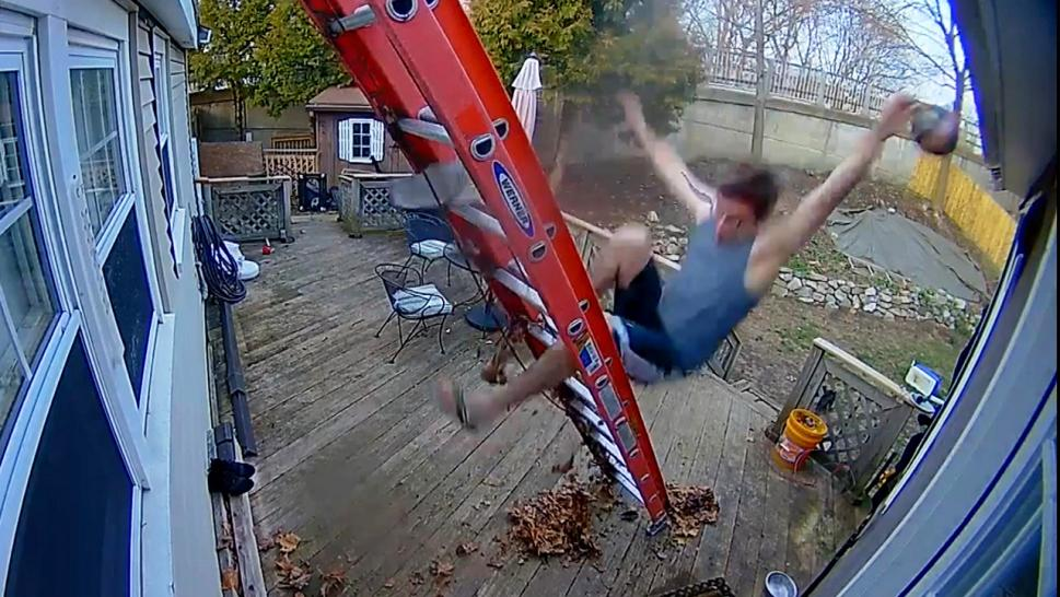 Man falling from a ladder