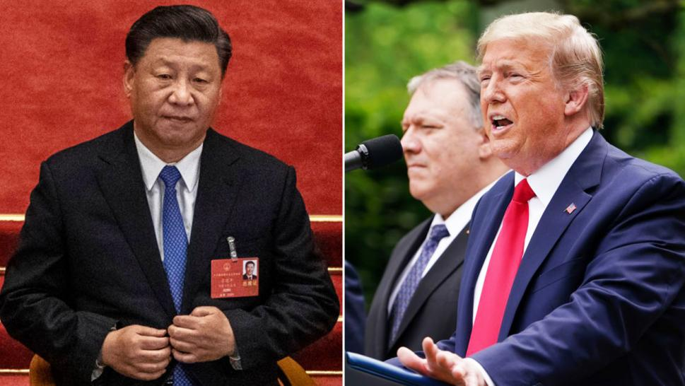 Xi Jinping, left, appears at the National People's Congress, which included a vote on a national security law for Hong Kong. Donald Trump, right, announces Friday it will revoke Hong Kong's preferential trade status in light of the decision.