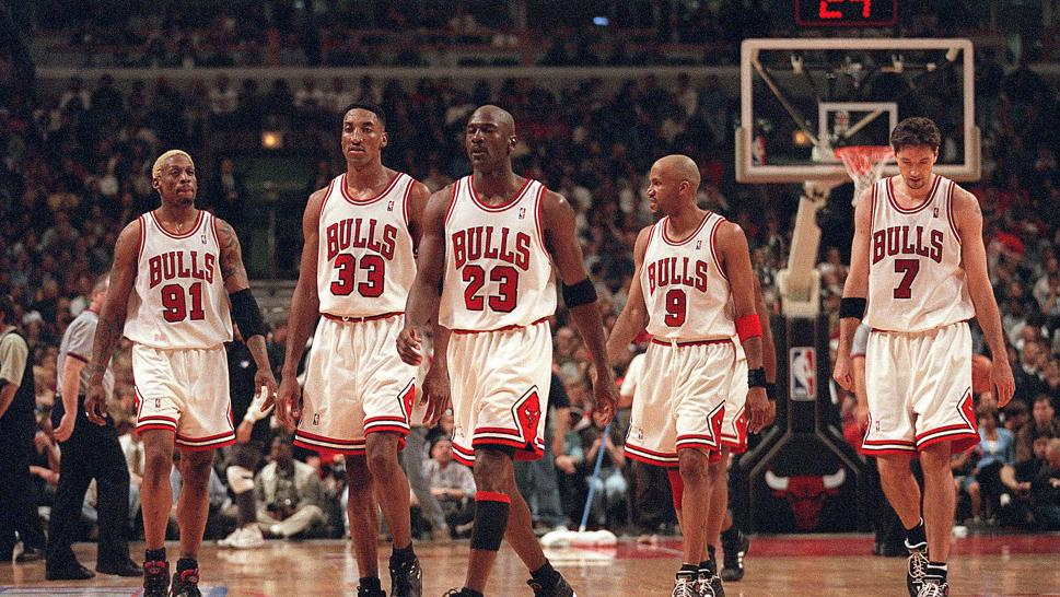 The 1996 Chicago Bulls on the court.