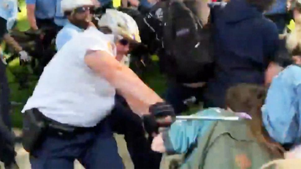 Video showing an altercation between a police officer and a protester