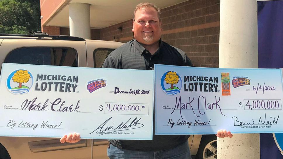 Michigan man wins lotto jackpot for second time.