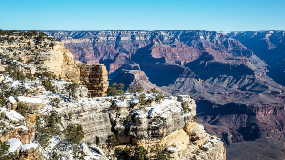 Mather Point in Grand Canyon National Park is a popular place for tourists to take photos.