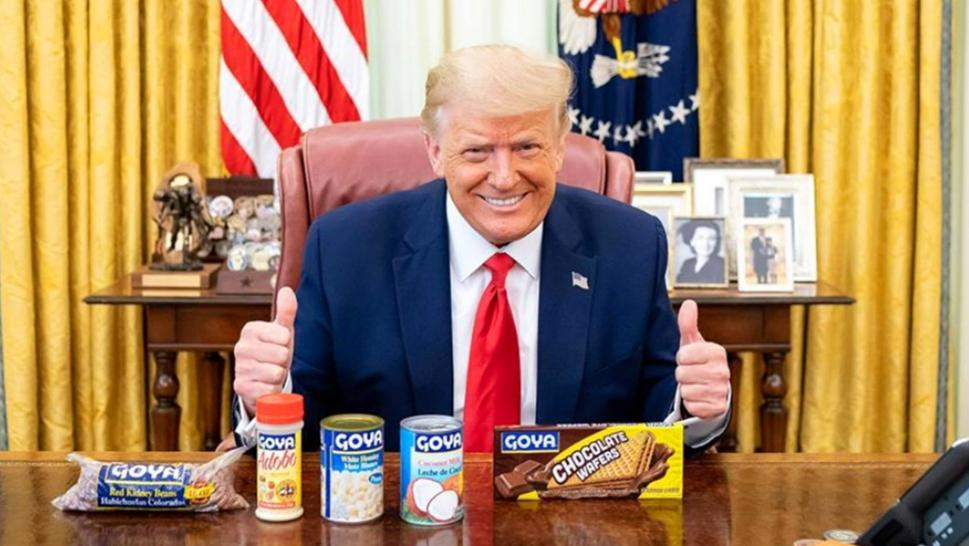 President Trump with Goya food products