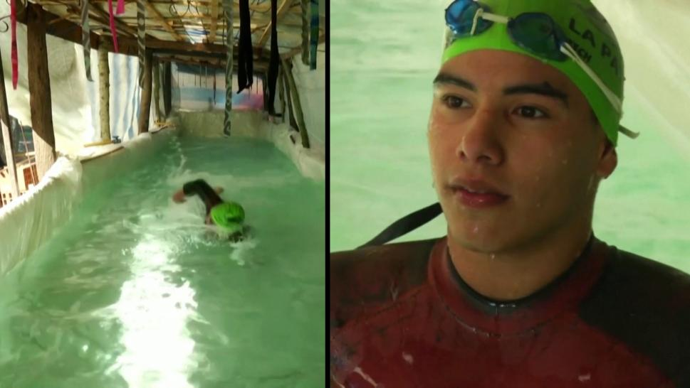 Teen swimmer who built his own pool