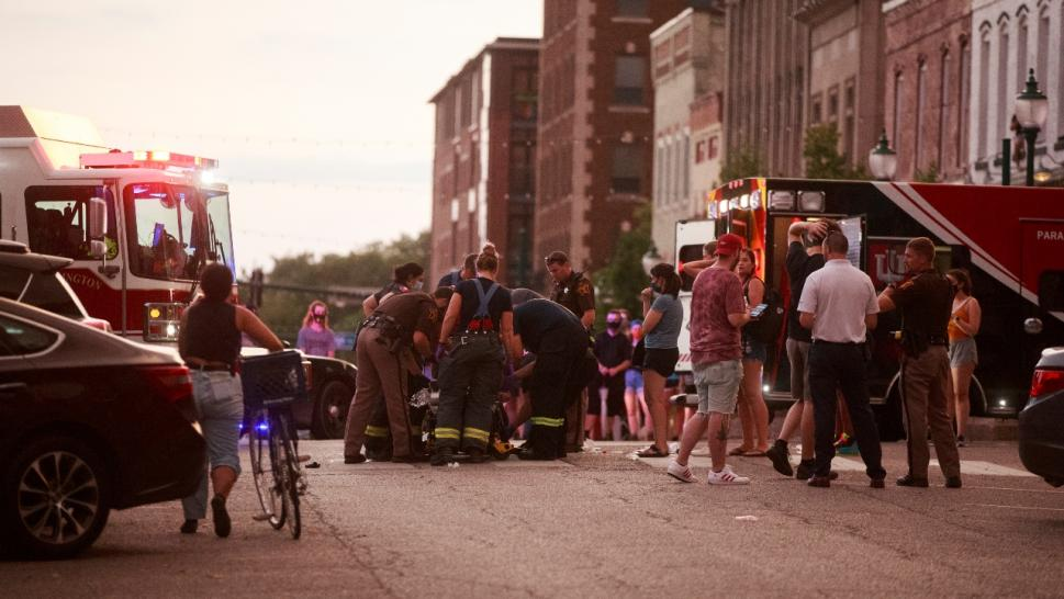 EMS attends to an injured protester in Bloomington, Indiana