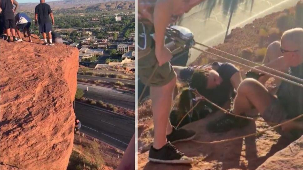 College Football Team Saves Woman Dangling Off A Cliff