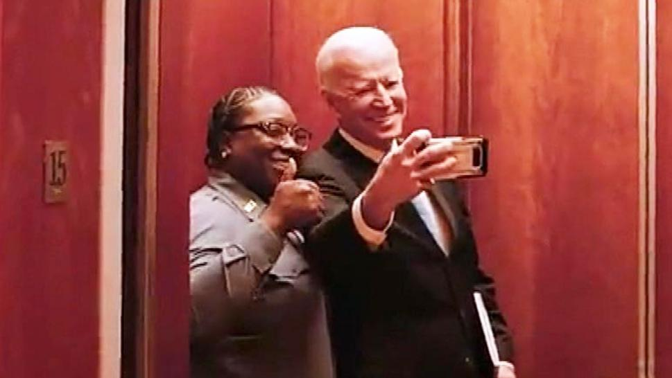 Joe Biden taking a selfie