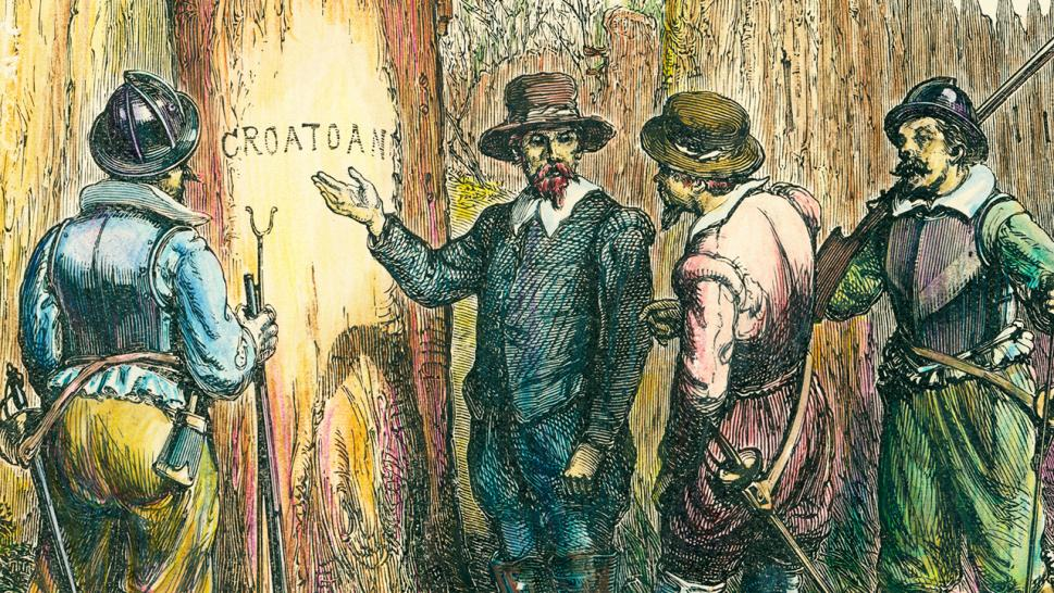 "An illustration depicts the moment Englishman John White returned to the colony to discover only the word ""CROATOAN"" carved on a post."