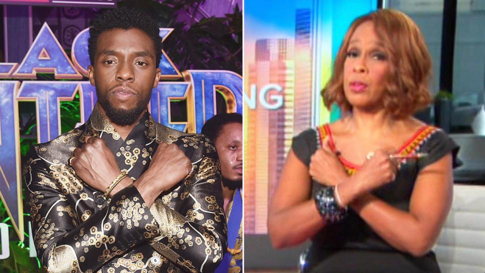 "People around the world, including Gayle King (right), celebrate ""Black Panther"" in the wake of the death of Chadwick Boseman (left)."