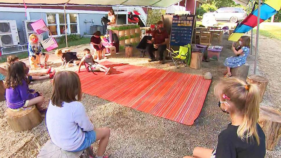 Private School Starts Classes Outdoors Under Tents