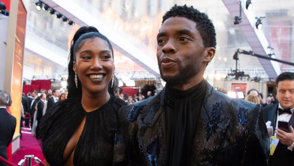 Taylor Ledward and Chadwick Boseman at the Oscars red carpet