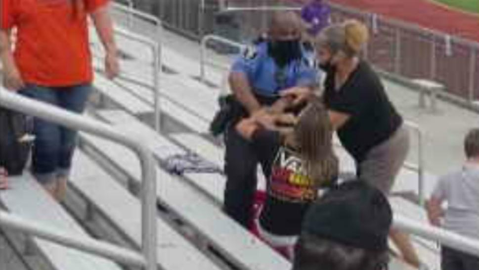 woman tased at football game