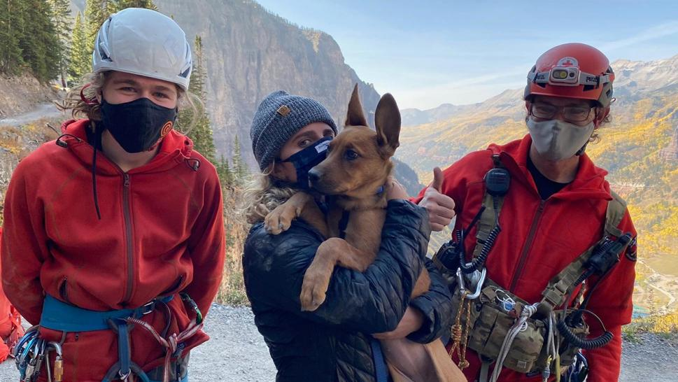One of the injured hikers, a Denver woman (pictured), was on a hike with her friends when the 3-month-old puppy, named Blue, lost its footing and fell 15 feet down off the edge of a road near Bridal Veil gate and became stuck in a narrow chute at the bottom, according to the sheriff.