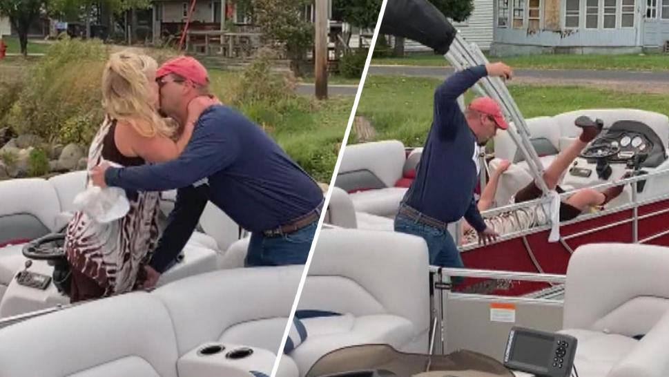 Man falling off boat after proposing