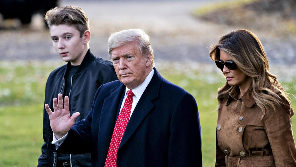 Barron Trump at a November 2019 appearance with his parents, President Donald Trump and First Lady Melania Trump.