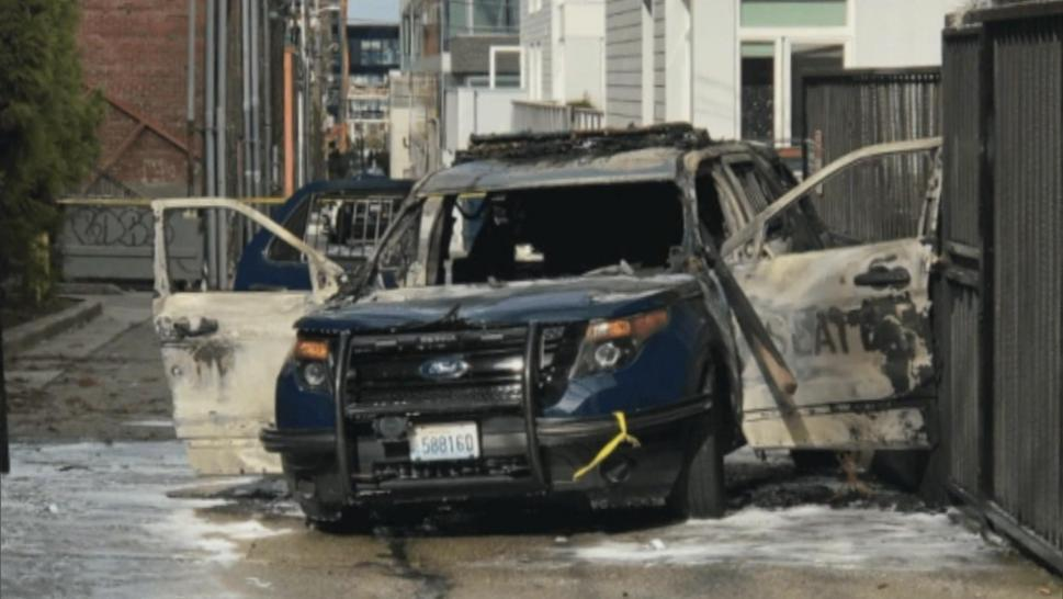 A burned police cruiser