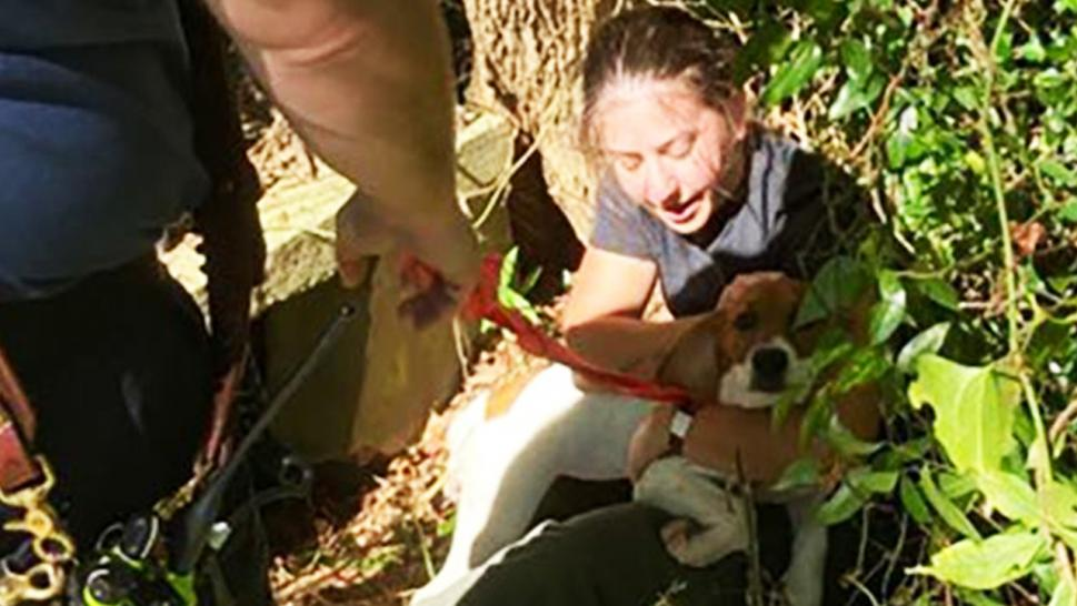 Master Deputy Sarah Hake rescued the dog from the storm drain unharmed.