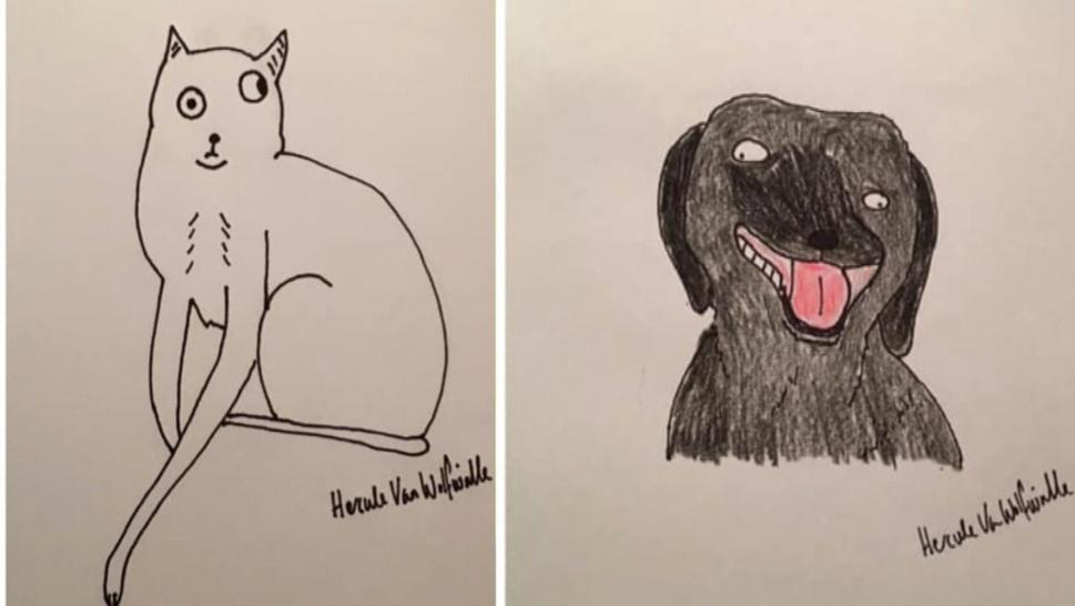 Two pet portraits drawn by Phil Heckels