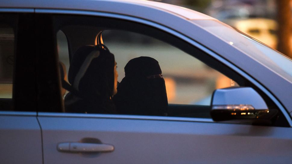 Two Saudi women driving. Loujain al-Hathloul not pictured.