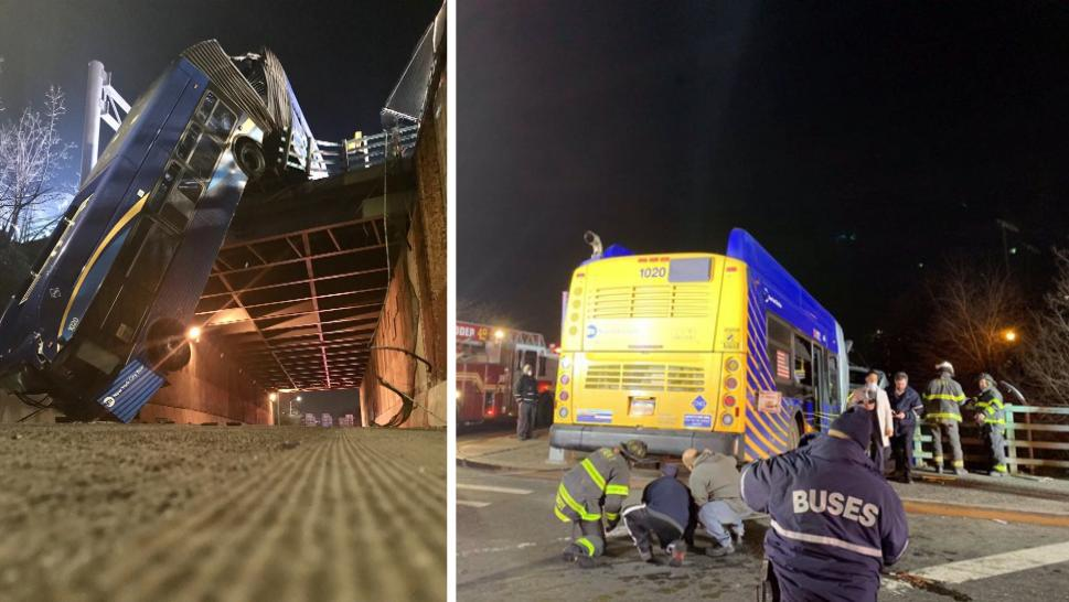 Everyone Survives as Bus Dangles 50 Feet Off Overpass
