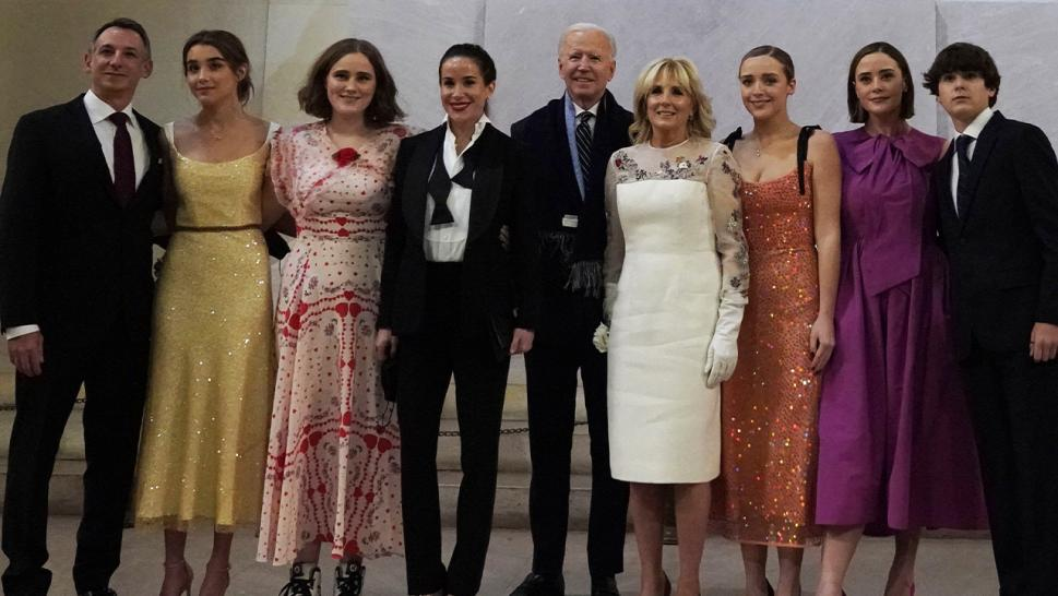 President Joe Biden and his fashionable family posed in front of the Lincoln Memorial.