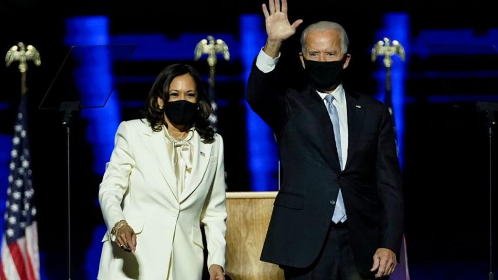 President-elect Joe Biden and Vice President-elect Kamala Harris take the stage at the Chase Center to address the nation November 07, 2020