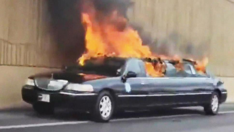 A limo on fire in Nevada