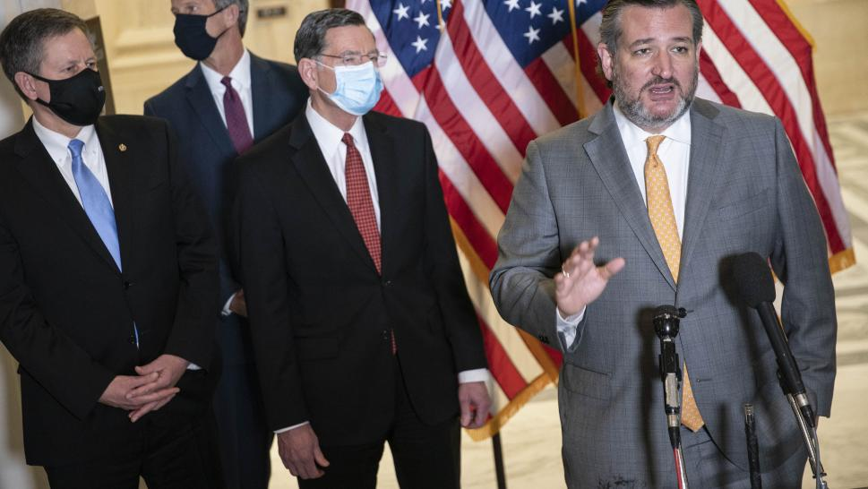 Senator Ted Cruz, a Republican from Texas, speaks during a news conference following a Republican caucus luncheon on Capitol Hill in Washington, D.C., U.S., on Wednesday, March 24, 2021. President Biden is meeting today with key cabinet members and immigration advisers as he faces mounting pressure to address the influx of migrants that has overwhelmed shelters at the U.S. southern border.