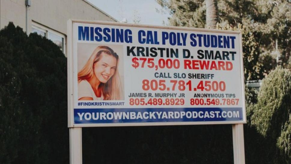 A billboard asking for information on Kristin Smart's disappearance