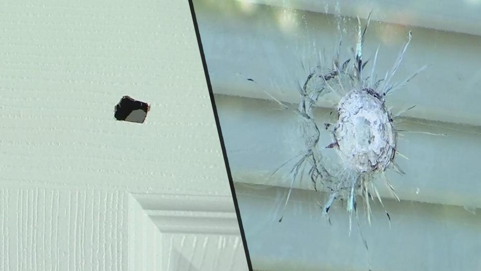 Bullet holes in a Georgia family's home