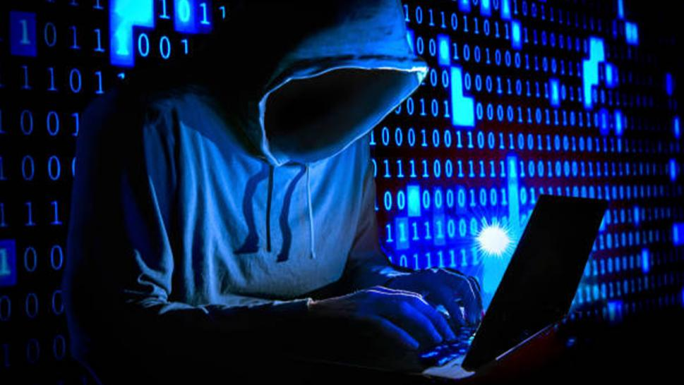 Stock image of someone surfing the dark web.