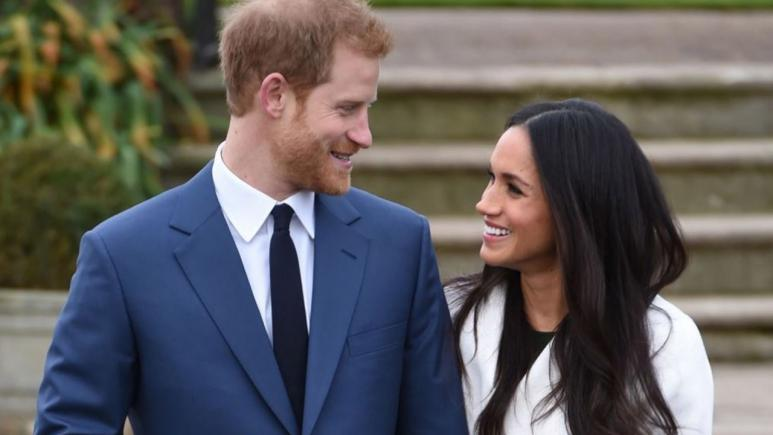 Prince Harry and Meghan Markle at Monday's announcement of their engagement