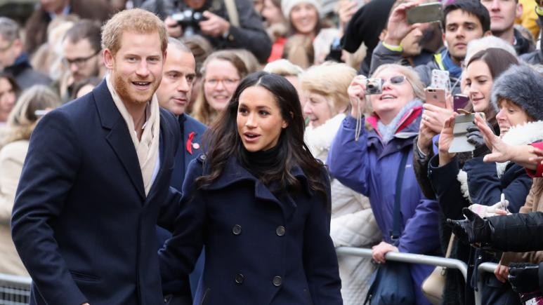 Prince Harry and Meghan Markle arrive at their first official royal visit after their engagement.