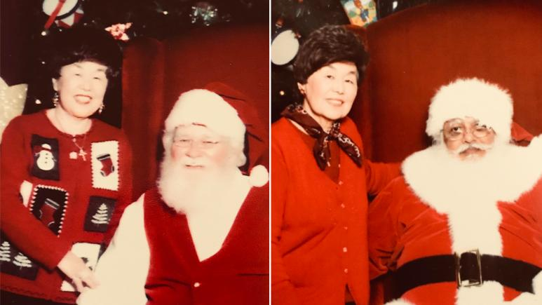 Karen visits with Santa throughout the years.