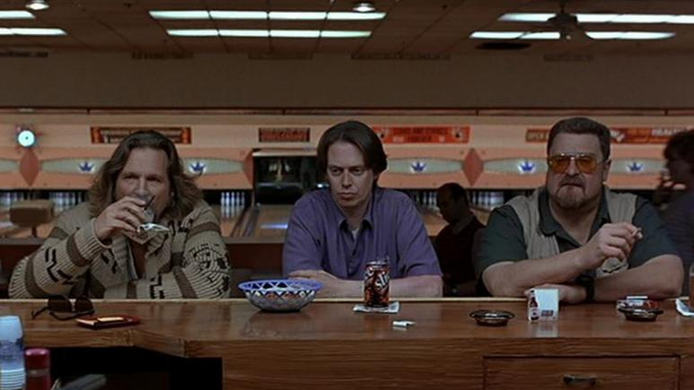 John Goodman right in a scene from the 1998 film'The Big Lebowski