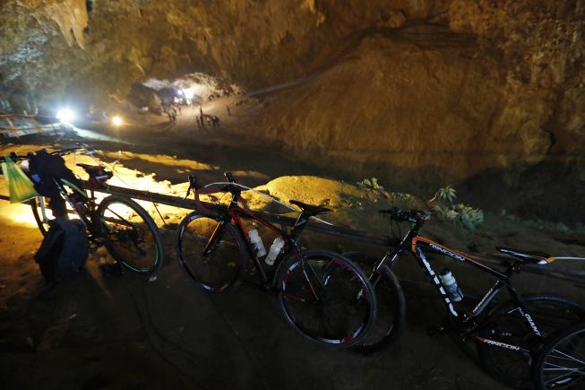 The boys' bicycles and soccer boots were found at the mouth of the cave network, but no trace of the group has so far been found, officials said.