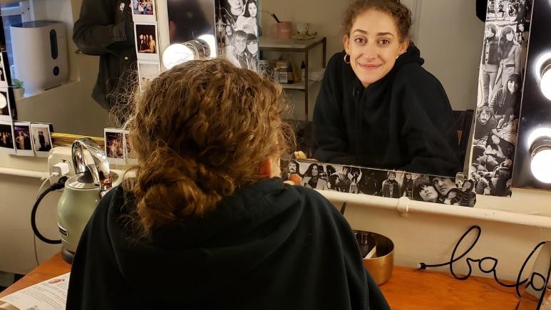 Micaela in her dressing room.