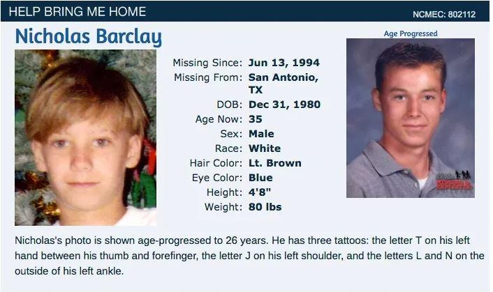 Nicholas Barclay disappeared in 1994.