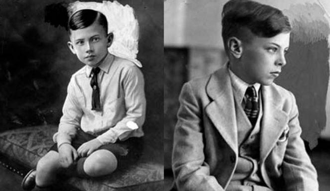 Walter Collins, left, and the boy who impersonated him.