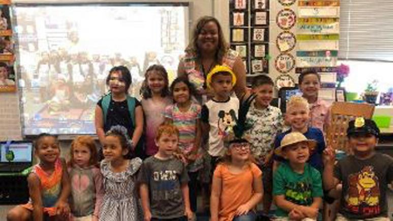 Miss Ashley and her kindergarten class.