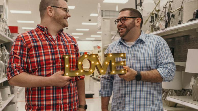 Aaron Damron, 29, and his partner, 31-year-old Tony DiPasqua, snapped their engagement photos at Target.