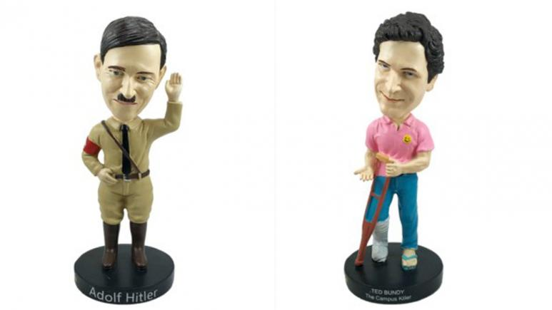 Adolf Hitler and Ted Bundy bobblehead dolls.