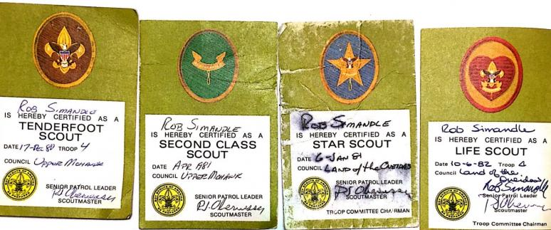 Rob Simandle's Boy Scout Awards